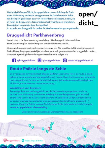 De flyer die informeert over het werk aan het bruggedicht aan de Parkhavenbrug en de route van poëzie langs de Schie.