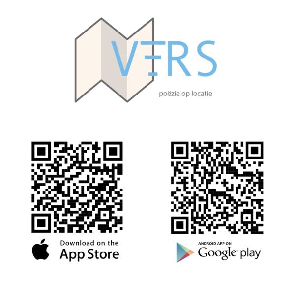VERS app QR codes luister naar voordrachten bij straatpoëzie